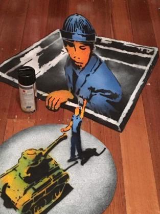 3-D stenciled rubber carpets