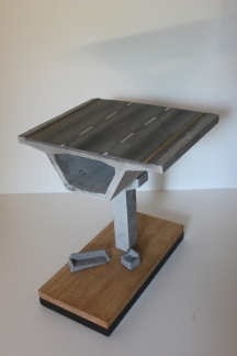 Mixed media-Concrete on wooden base